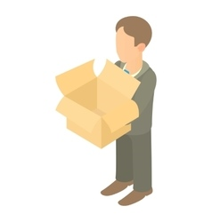 Businessman holding an outline box icon vector image