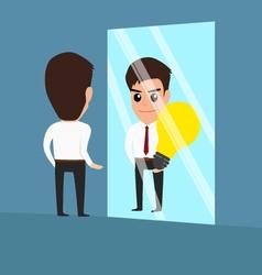 Businessman see idea in the mirror vector