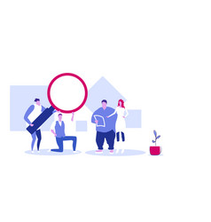 Businesspeople using magnifying zoom glass vector