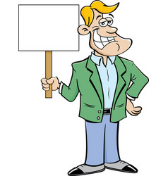 cartoon smiling man holding a sign vector image vector image