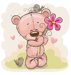 Cartoon teddy bear with flower vector