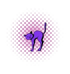 Cat icon in comics style vector