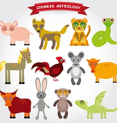 Chinese astrology set of funny animals on a white vector