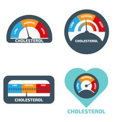 Cholesterol meter icons set vector