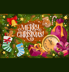 christmas gifts xmas bell and stokings frame vector image