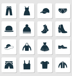 clothes icons set collection of casual elegance vector image
