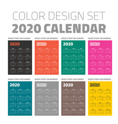 color pocket calendar set 2020 vector image