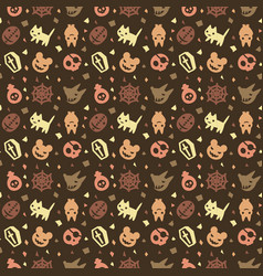 cute halloween pattern background with brown color vector image