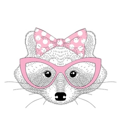 Cute raccoon girl portrait with cat eyes glasses vector