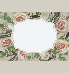 decorative retro frame with flowers leaves a vector image