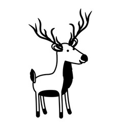 deer cartoon in black sections silhouette on white vector image