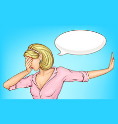 Disappointed woman making facepalm cartoon vector