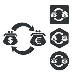 Dollar-euro trade icon set monochrome vector image