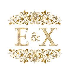 E and x vintage initials logo symbol vector