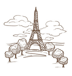 eiffel tower paris landmark sketch travel to vector image