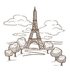 eiffel tower paris landmark sketch travel to vector image