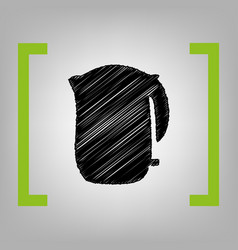 electric kettle sign black scribble icon vector image