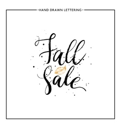 Fall sale lettering with orange leaf and black vector