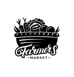farmers market hand written lettering logo label vector image