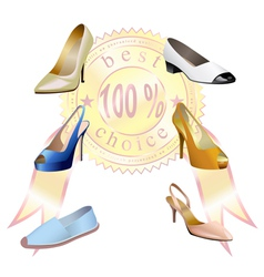 Fashionable womens shoes with sticker are on white vector image