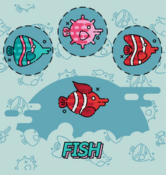 Fish flat concept icons vector