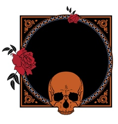 Frame with roses and skull vector