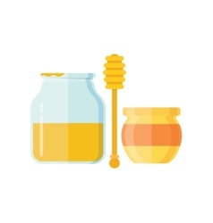 glass jar honey with wooden drizzler vector image