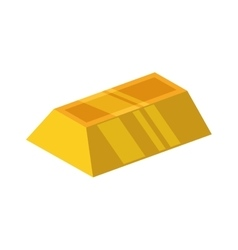 Gold bar block yellow treasure icon vector image