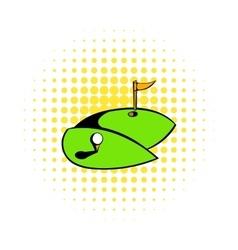 Golf course icon comics style vector image