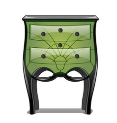 Green bedside table in vintage style isolated on vector