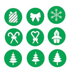 green Christmas icons vector image