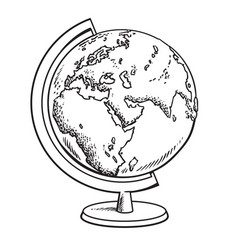 hand drawn school globe model of earthgeography vector image