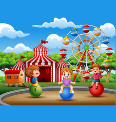 happy children playing in the amusement vector image