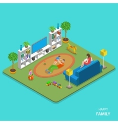 Happy family isometric flat concept vector