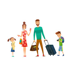 happy family travel together with luggage and vector image