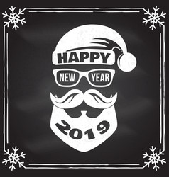 Happy new year stamp sticker set with santa claus vector