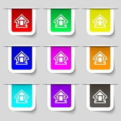 House icon sign Set of multicolored modern labels vector image