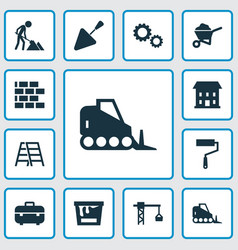 industry icons set collection of stair lifting vector image