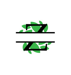 Initial z green leaf monogram split letter vector