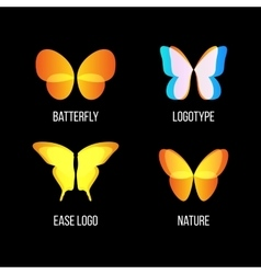 Isolated colorful butterflies logo set vector image