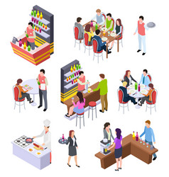 Isometric restaurant waiters and people eating vector