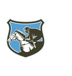 Jockey Horse Racing Side Shield Retro vector image