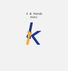 K - letter abstract icon amp hands logo design vector