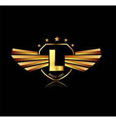 Letter L winged crests logo Alphabet logotype vector image