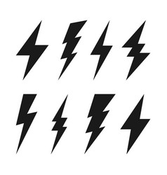 lightning bolt icons collection flash symbol vector image