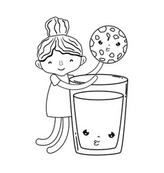 little girl with milk and cookie kawaii character vector image