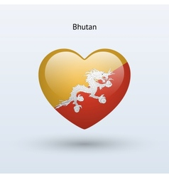 Love Bhutan symbol Heart flag icon vector
