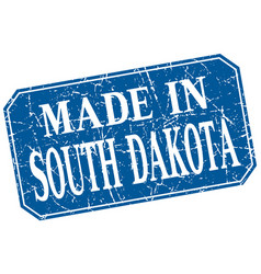 Made in south dakota blue square grunge stamp vector