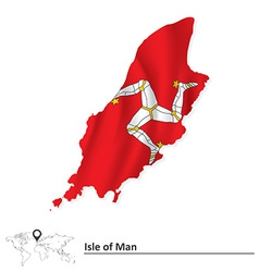 Map of Isle of Man with flag vector