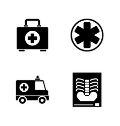 medical ambulance emergency simple related icons vector image
